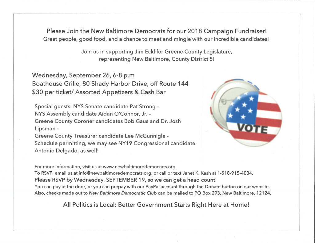 Image of New Baltimore Democratic Club Campaign Fundraiser invitation