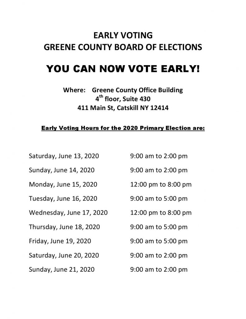 Dates and Times for early voting in the Primary Election. For information if you cannot see the jpg image, you can visit www.greenegovernment.com/departments/board-of-elections